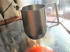 RETRO SHAPE STAINLESS STEEL TANKARD HALF PINT LARGE HANDLE